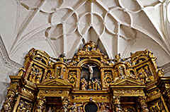 The high altar of the 'Santa Maria la Major' of Alquézar in the southern Pyrenees of Aragon in Spain.