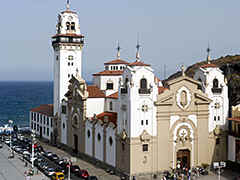 Tenerife - one of the Canary Islands of Spain - with the modernistic cathedral of Candelaria on the east coast.