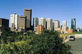 Calgary with the skyline of downtown