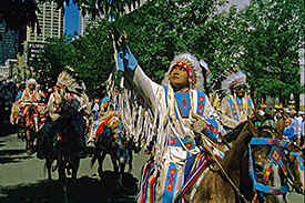 in Calgary this parade of indians during the anniversary of Calgary in 1994