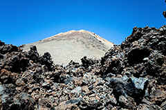 Tenerife - the 'Piton' the volcanic top of the Teide, the highest mounatin of Spain.